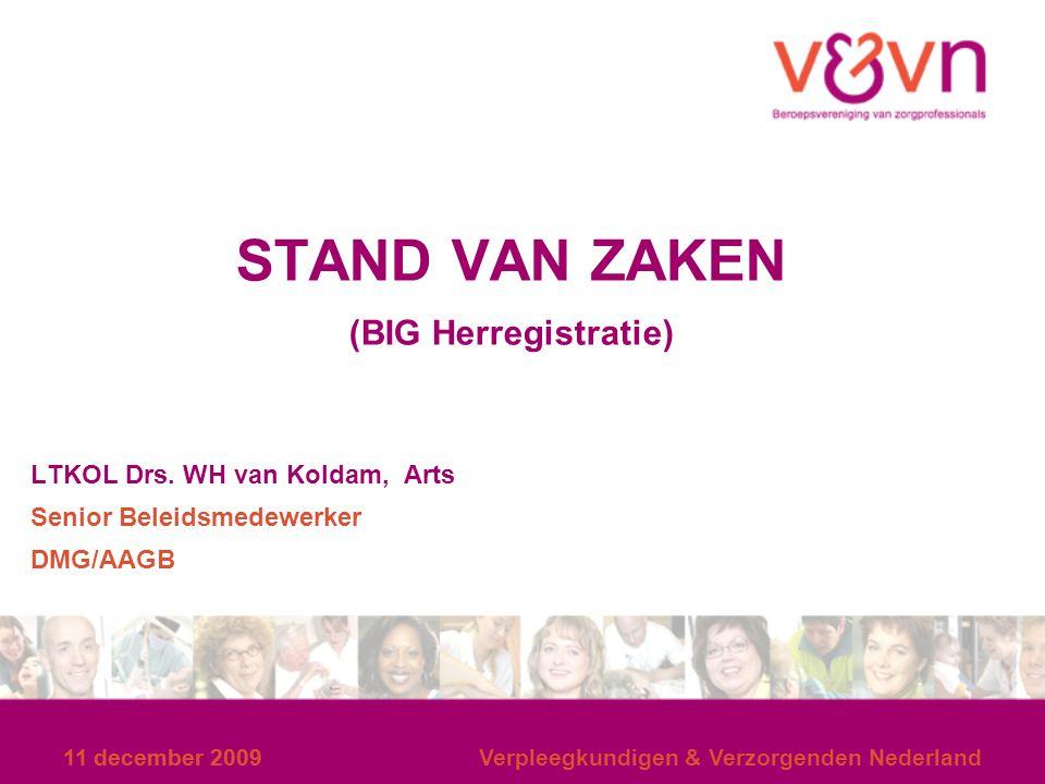 STAND VAN ZAKEN (BIG Herregistratie) LTKOL Drs. WH van Koldam, Arts