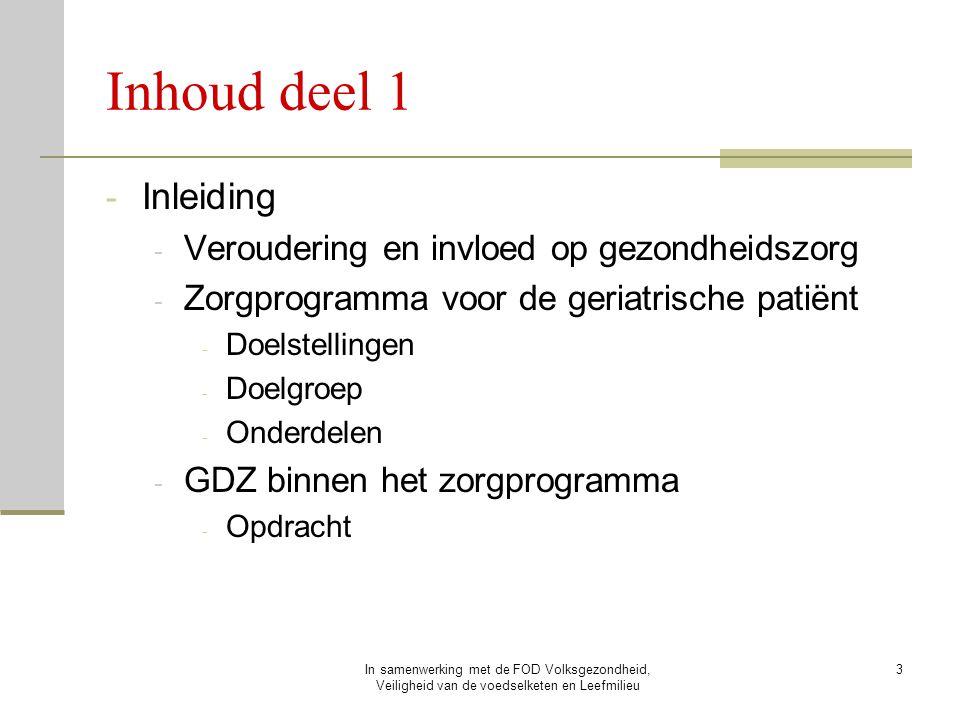 Inhoud deel 1 Inleiding Veroudering en invloed op gezondheidszorg