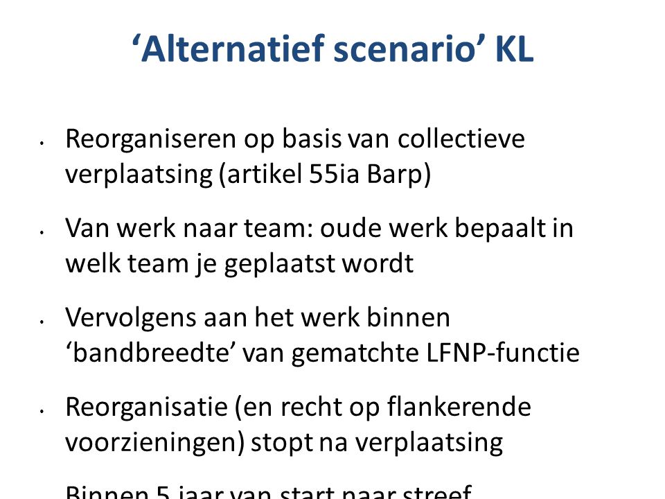 'Alternatief scenario' KL