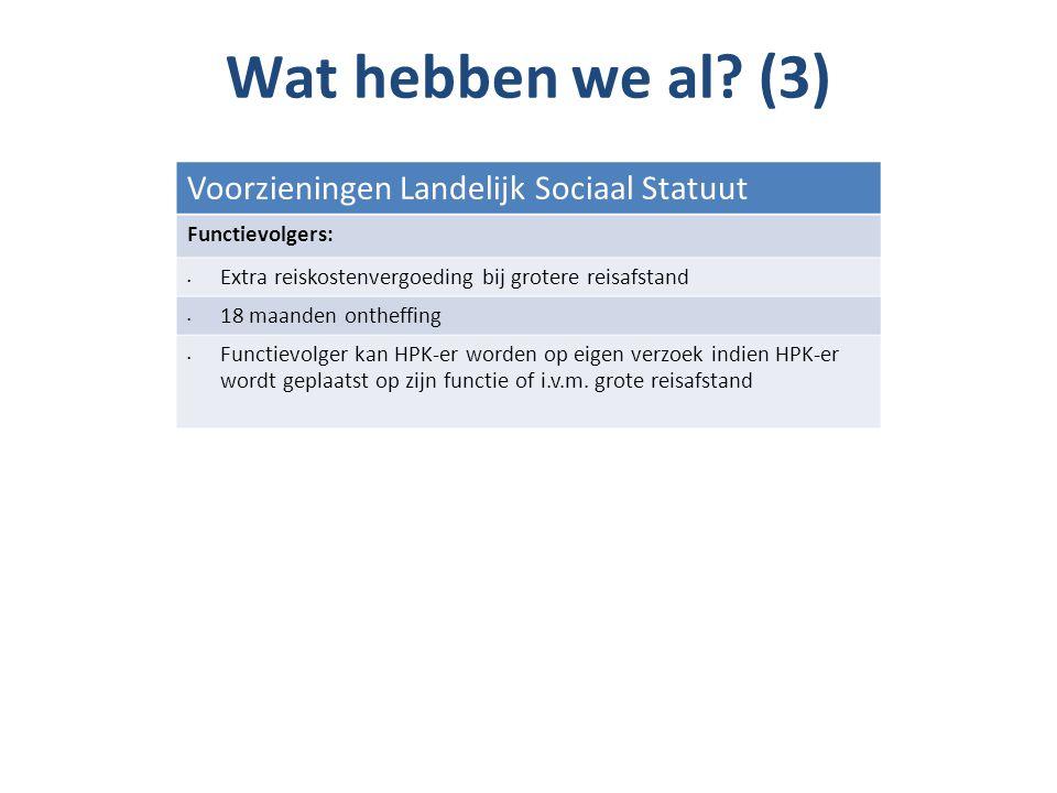 Wat hebben we al (3) Voorzieningen Landelijk Sociaal Statuut