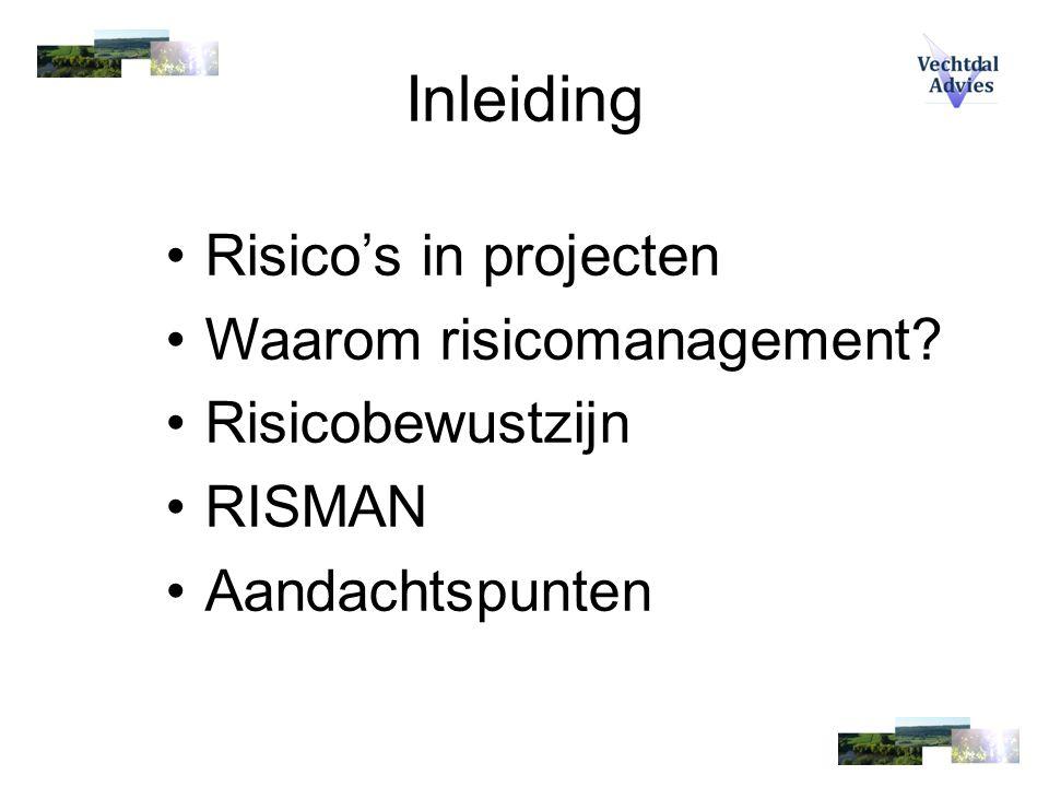 Inleiding Risico's in projecten Waarom risicomanagement