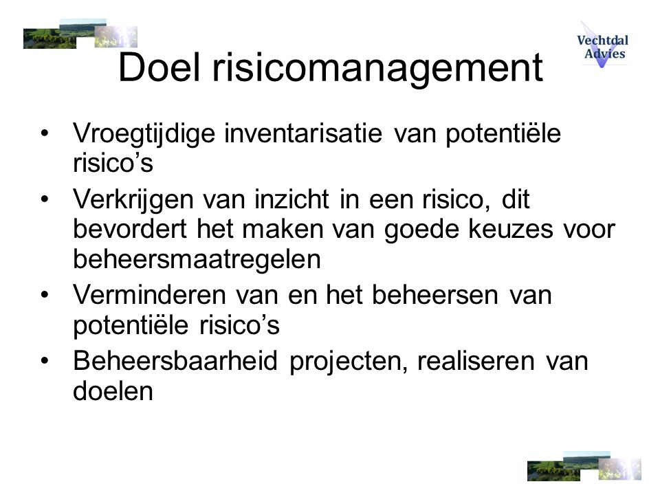 Doel risicomanagement