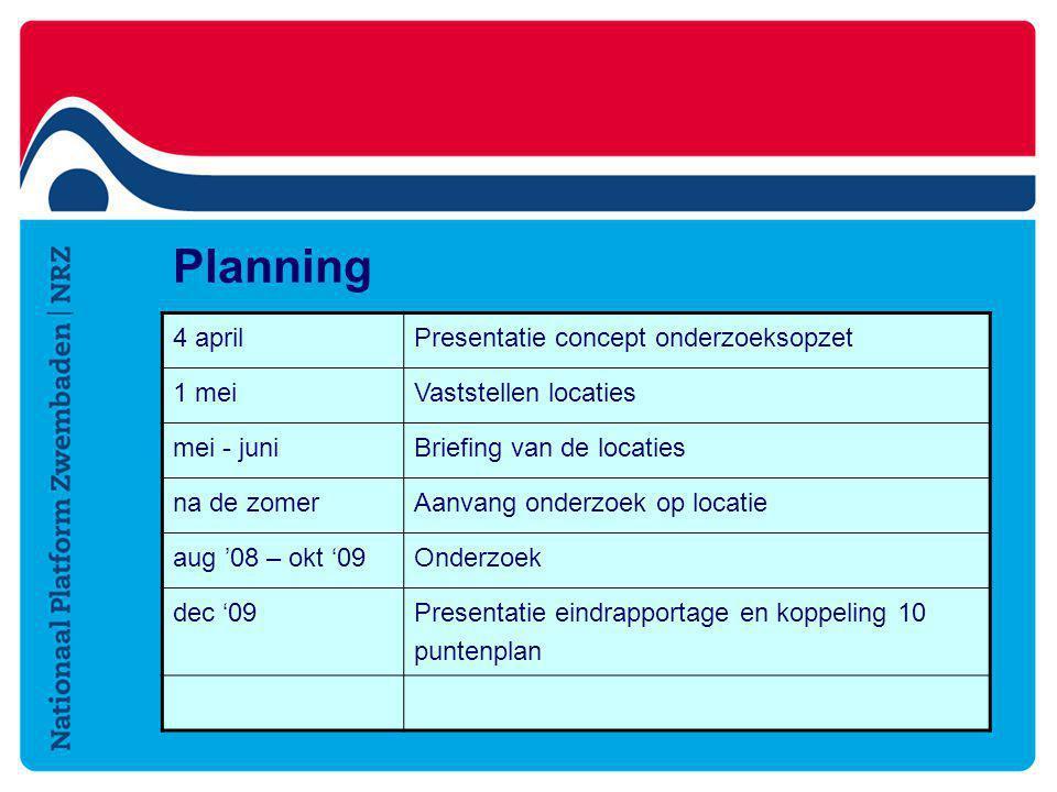 Planning 4 april Presentatie concept onderzoeksopzet 1 mei