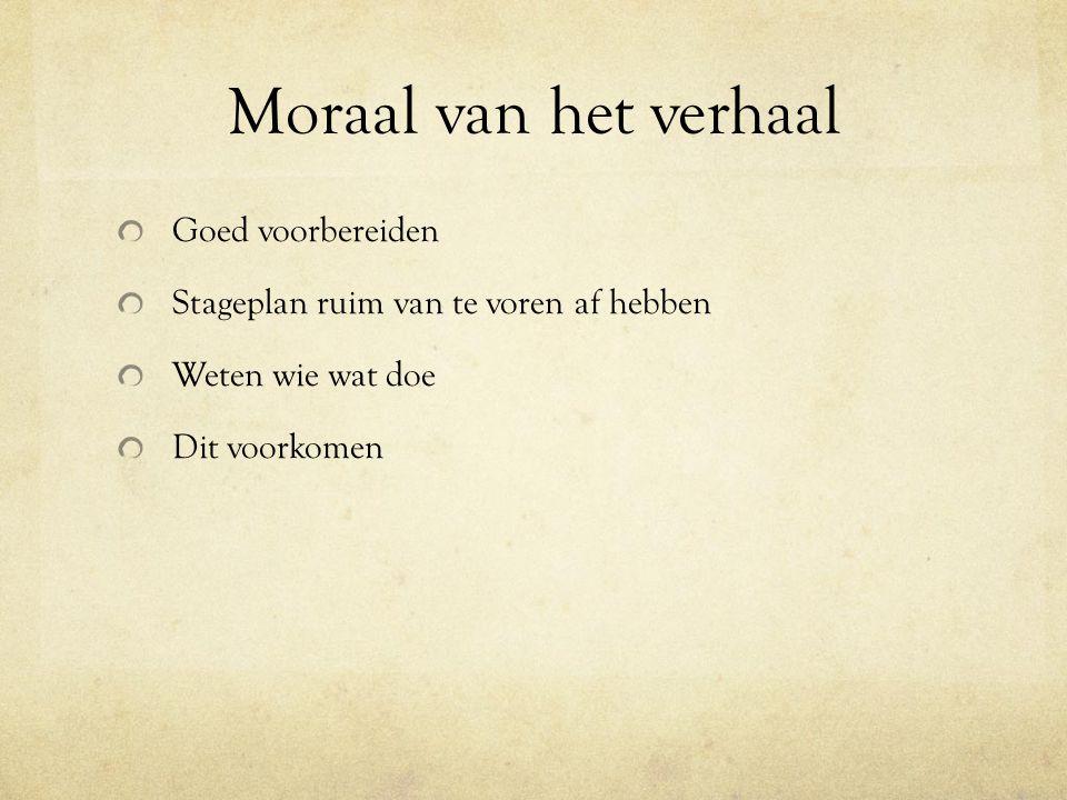 Moraal van het verhaal Goed voorbereiden