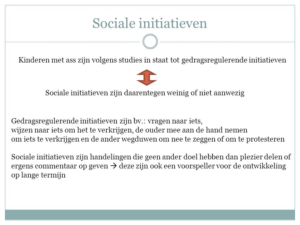 Sociale initiatieven Kinderen met ass zijn volgens studies in staat tot gedragsregulerende initiatieven.