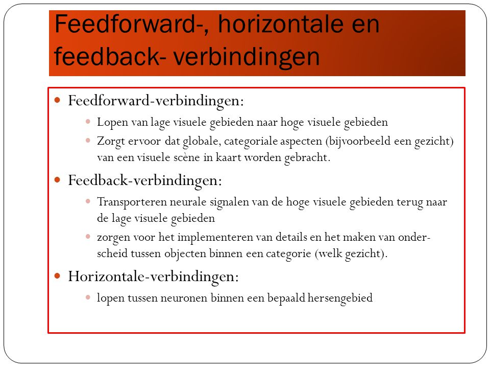 Feedforward-, horizontale en feedback- verbindingen
