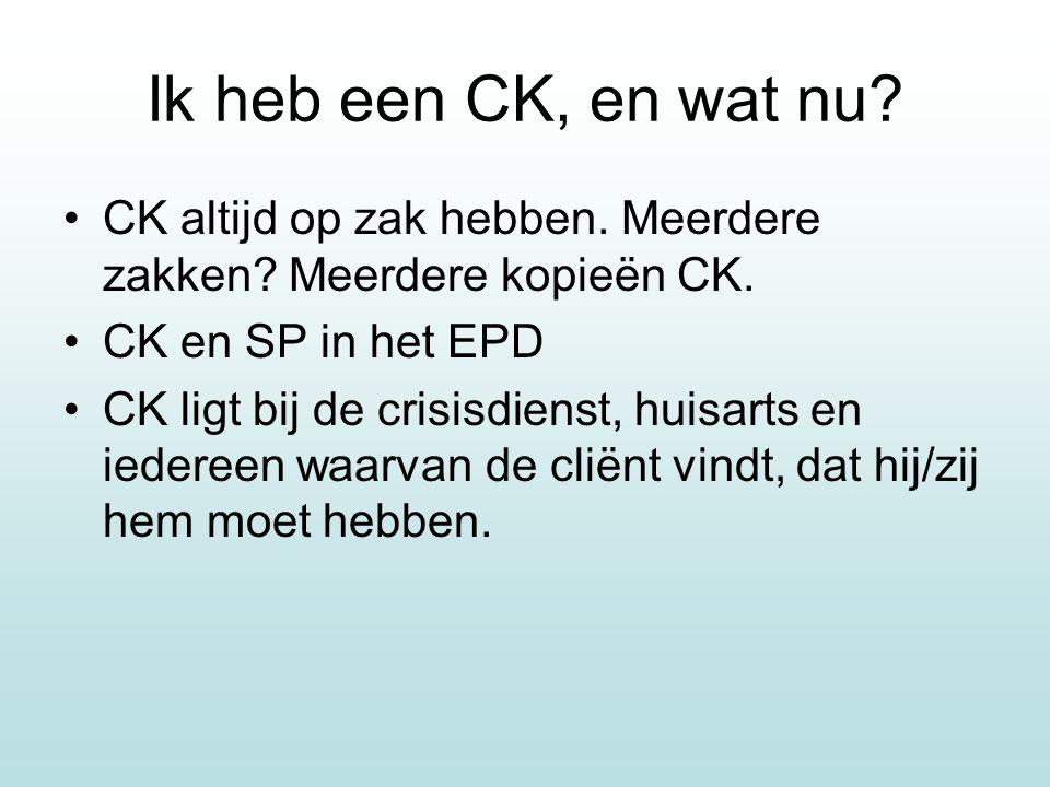 Ik heb een CK, en wat nu CK altijd op zak hebben. Meerdere zakken Meerdere kopieën CK. CK en SP in het EPD.