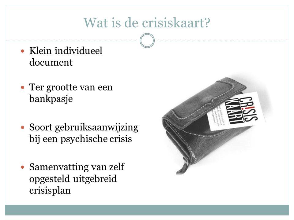 Wat is de crisiskaart Klein individueel document