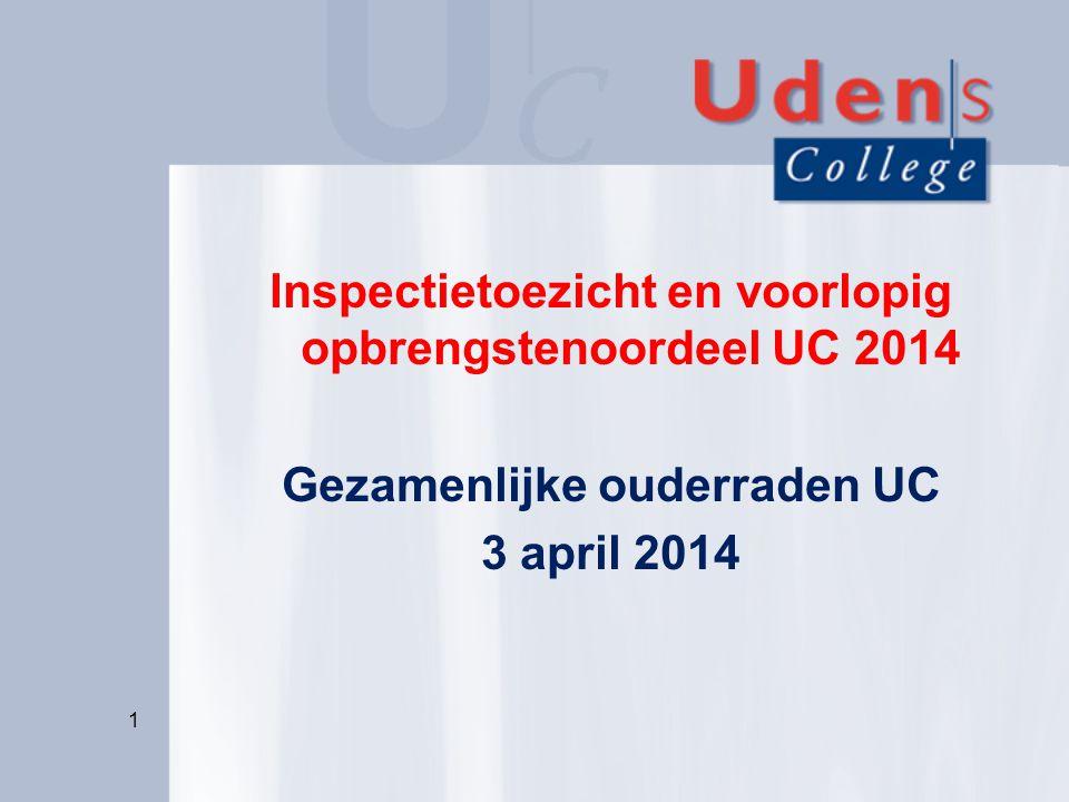 Inspectietoezicht en voorlopig opbrengstenoordeel UC 2014 Gezamenlijke ouderraden UC 3 april 2014
