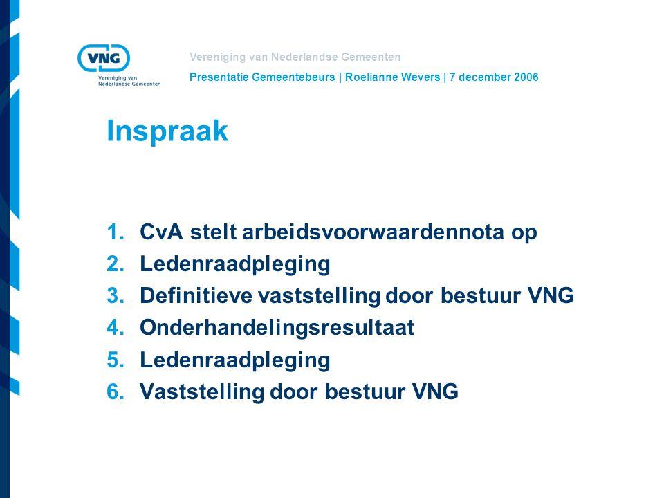 Inspraak CvA stelt arbeidsvoorwaardennota op Ledenraadpleging