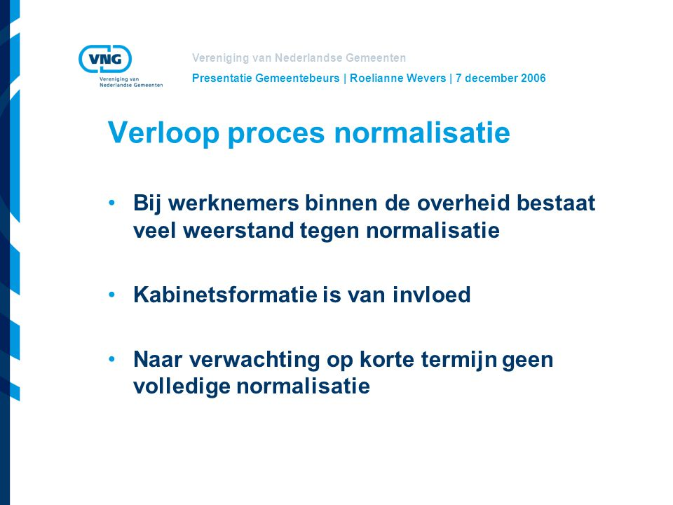 Verloop proces normalisatie