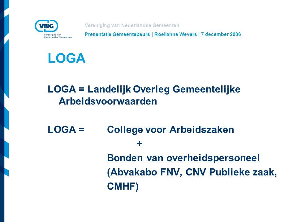 LOGA LOGA = Landelijk Overleg Gemeentelijke Arbeidsvoorwaarden