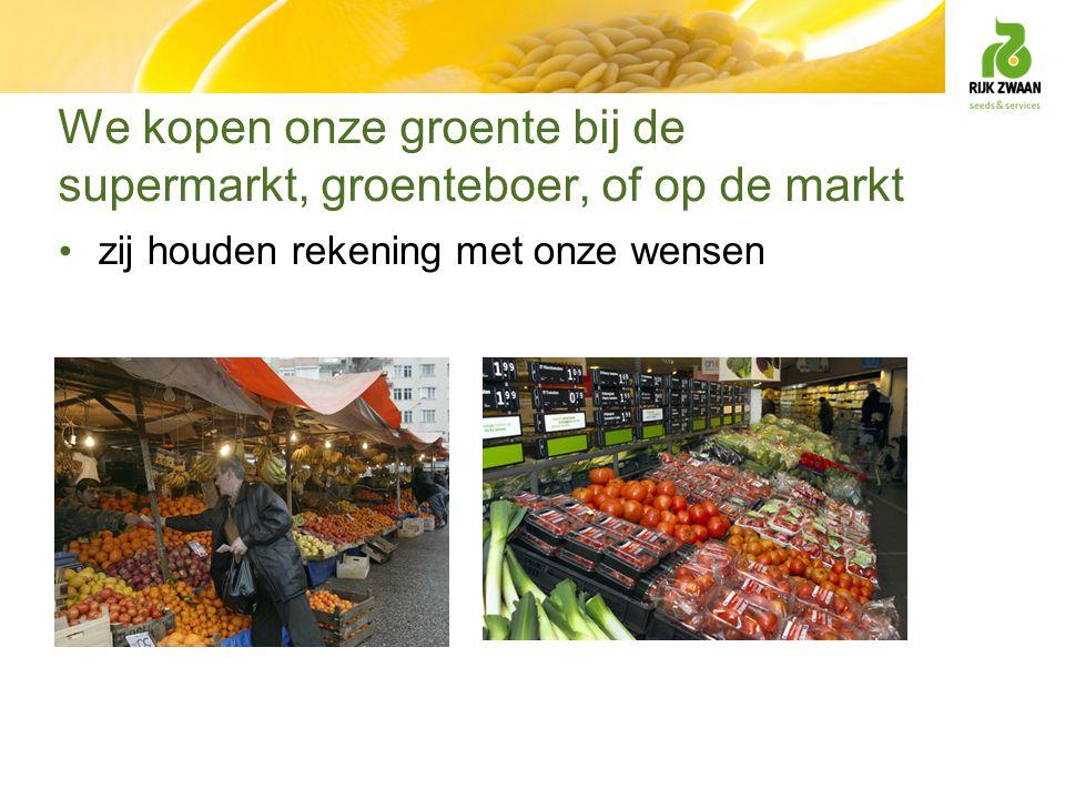 We kopen onze groente bij de supermarkt, groenteboer, of op de markt