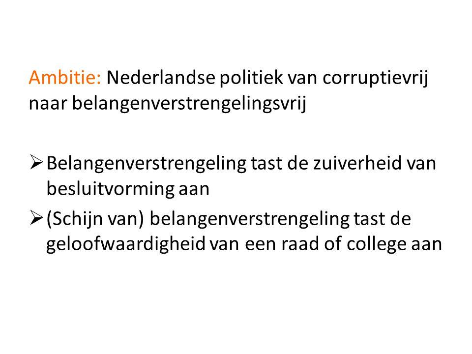 Ambitie: Nederlandse politiek van corruptievrij naar belangenverstrengelingsvrij