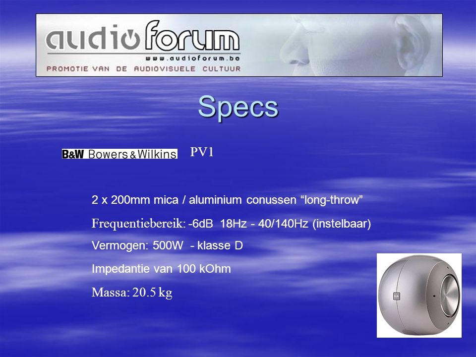 Specs PV1 2 x 200mm mica / aluminium conussen long-throw