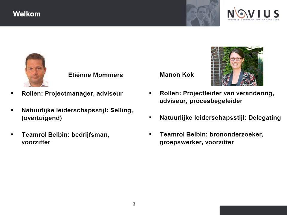 Welkom Etiënne Mommers Manon Kok Rollen: Projectmanager, adviseur