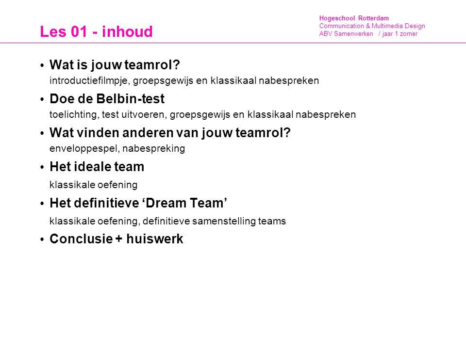 Les 01 - inhoud Wat is jouw teamrol introductiefilmpje, groepsgewijs en klassikaal nabespreken.