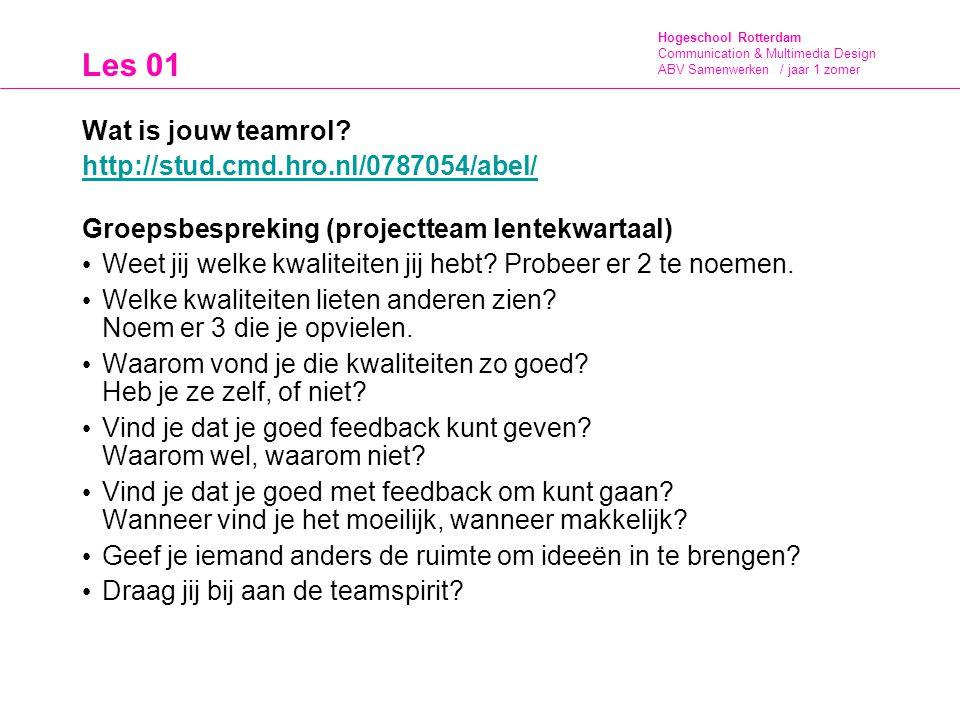 Les 01 Wat is jouw teamrol http://stud.cmd.hro.nl/0787054/abel/