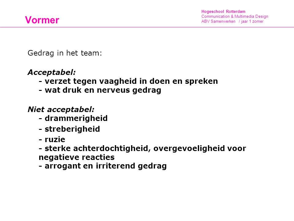 Vormer Gedrag in het team: