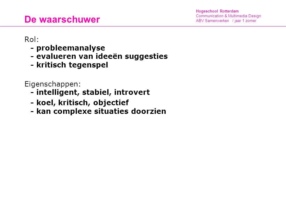 De waarschuwer Rol: - probleemanalyse - evalueren van ideeën suggesties - kritisch tegenspel. Eigenschappen: - intelligent, stabiel, introvert.