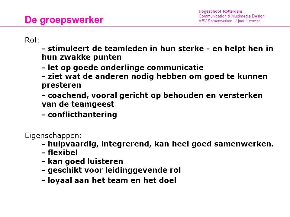 De groepswerker Rol: - stimuleert de teamleden in hun sterke - en helpt hen in hun zwakke punten.