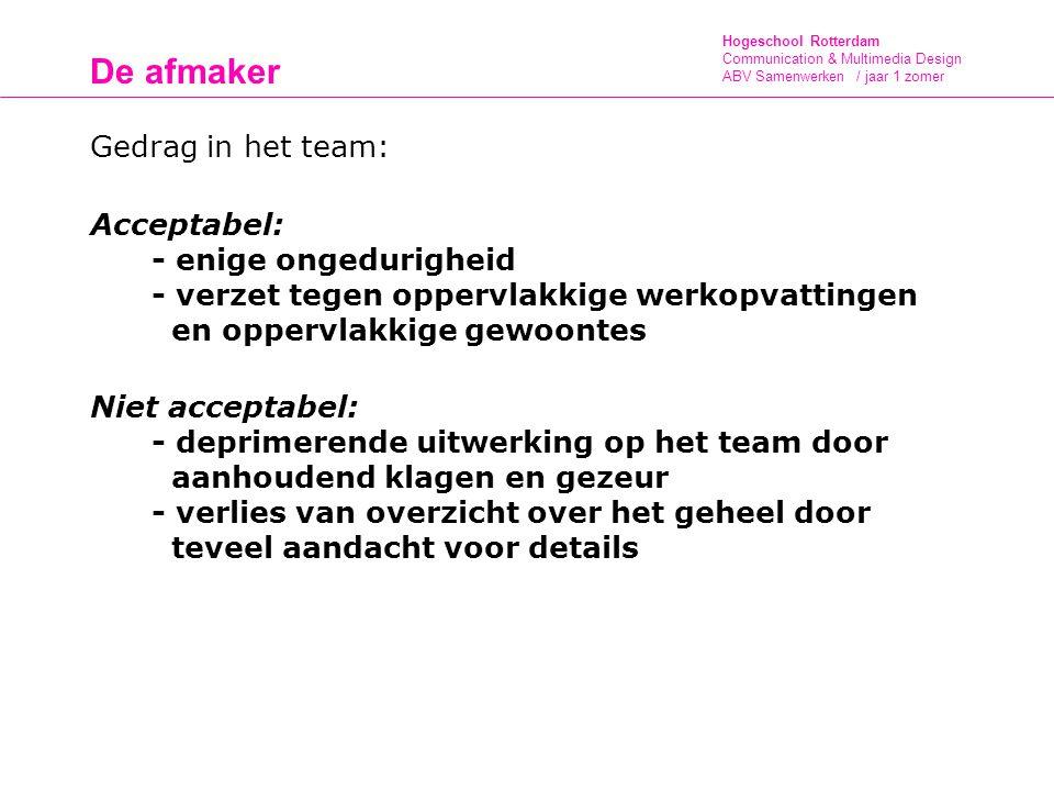 De afmaker Gedrag in het team: