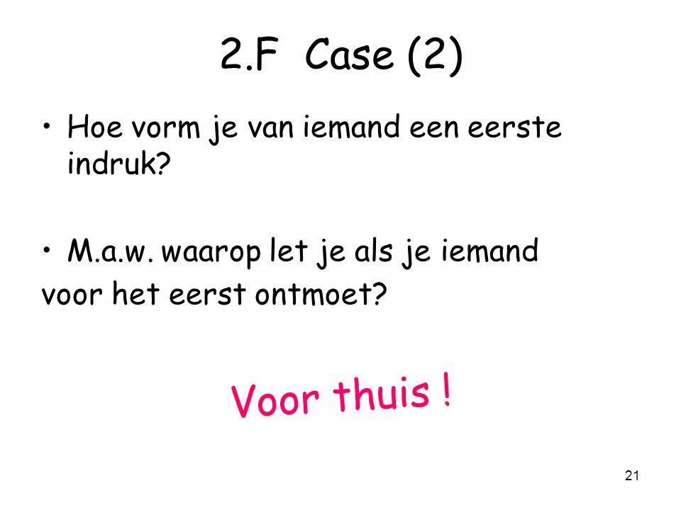 2.F Case (2) Voor thuis ! Hoe vorm je van iemand een eerste indruk