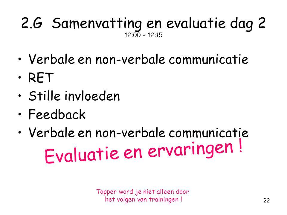 2.G Samenvatting en evaluatie dag 2 12:00 – 12:15