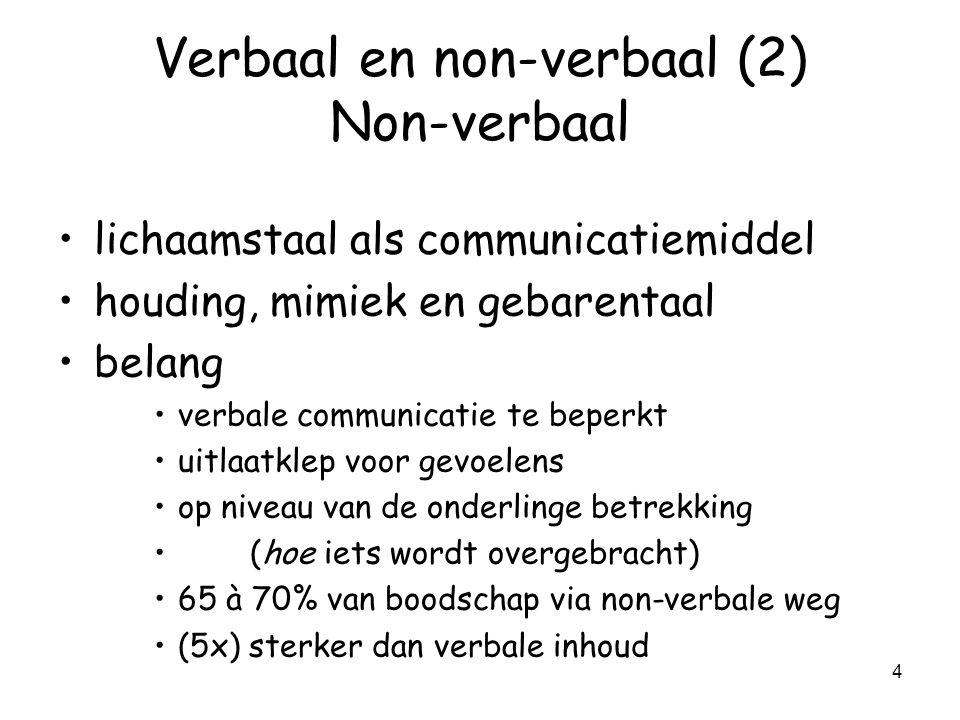 Verbaal en non-verbaal (2) Non-verbaal