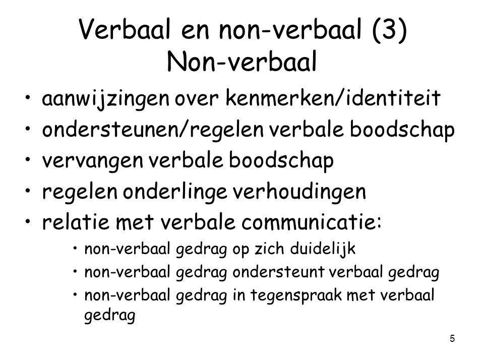 Verbaal en non-verbaal (3) Non-verbaal