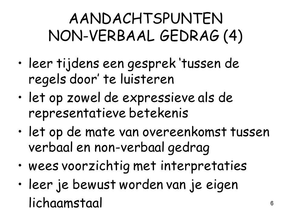 AANDACHTSPUNTEN NON-VERBAAL GEDRAG (4)