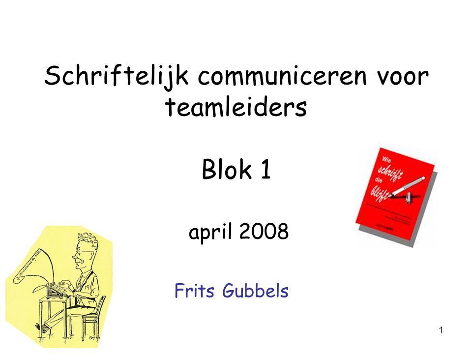 Schriftelijk communiceren voor teamleiders Blok 1