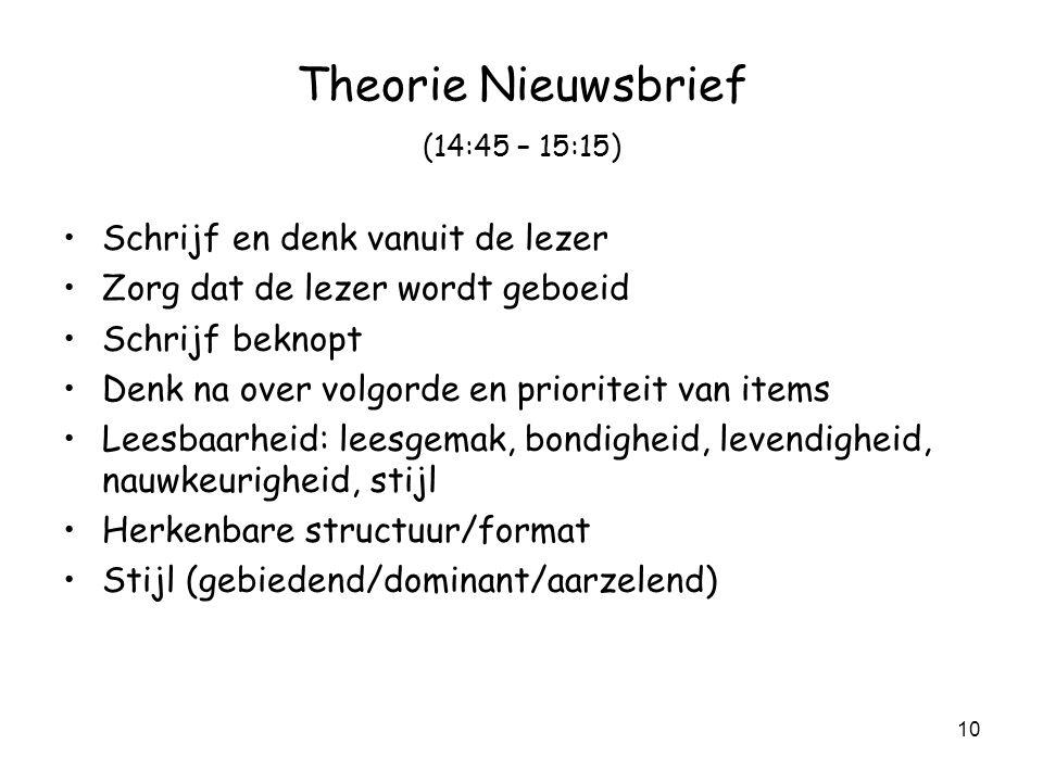 Theorie Nieuwsbrief (14:45 – 15:15)