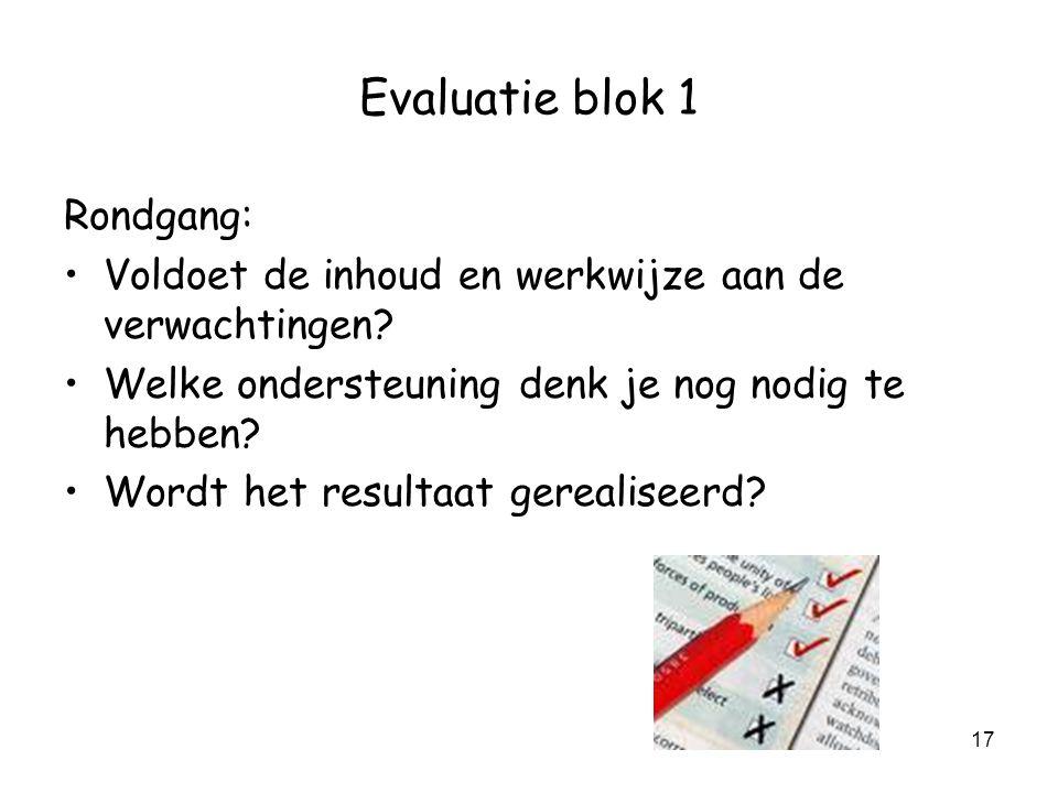 Evaluatie blok 1 Rondgang: