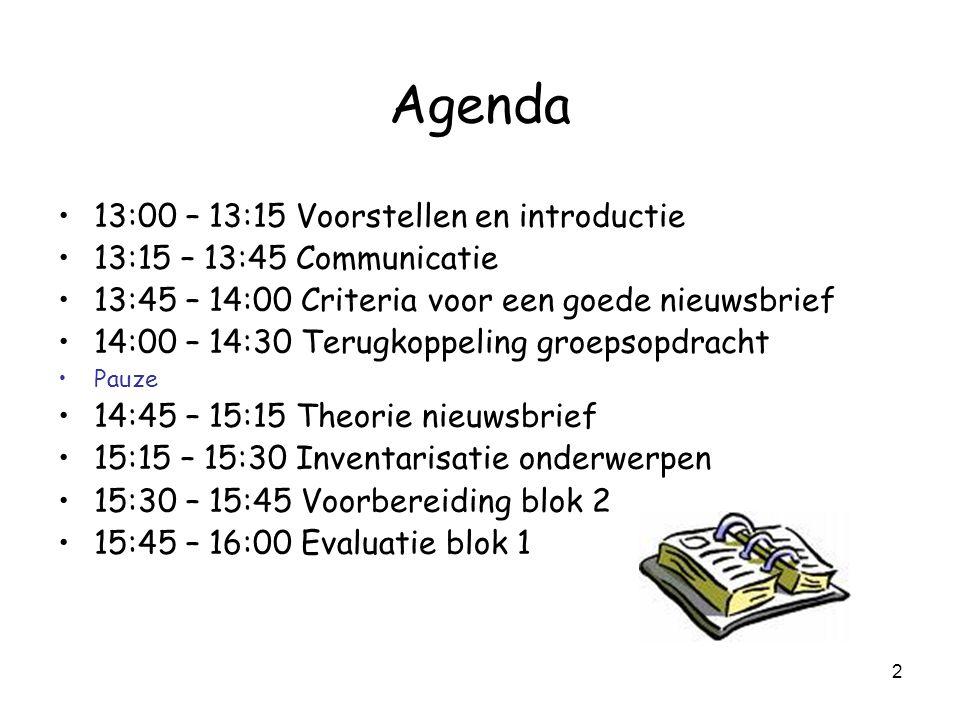 Agenda 13:00 – 13:15 Voorstellen en introductie