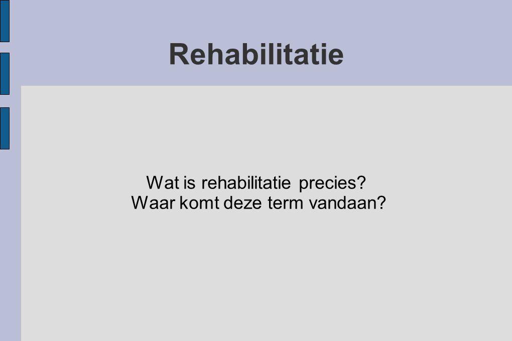 Wat is rehabilitatie precies Waar komt deze term vandaan