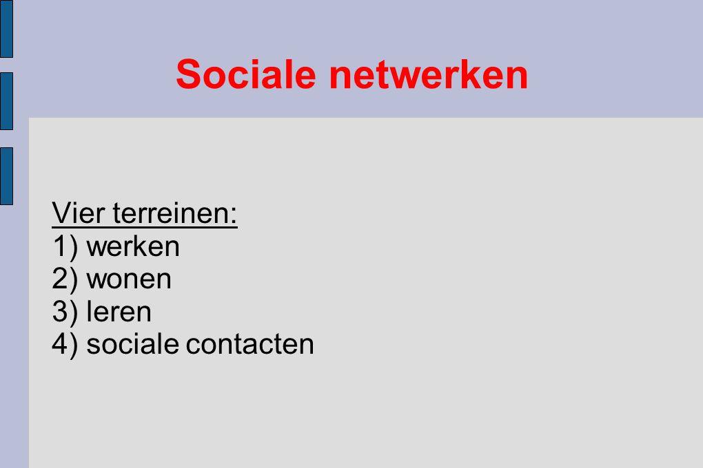 Vier terreinen: 1) werken 2) wonen 3) leren 4) sociale contacten