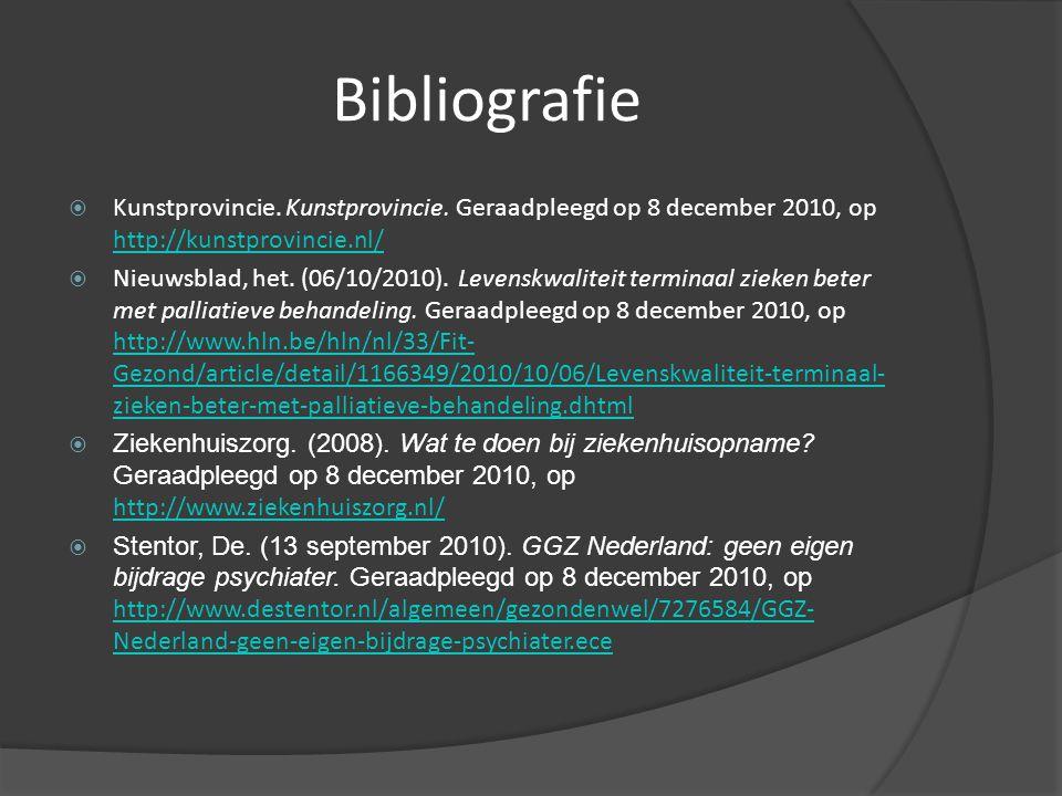 Bibliografie Kunstprovincie. Kunstprovincie. Geraadpleegd op 8 december 2010, op http://kunstprovincie.nl/