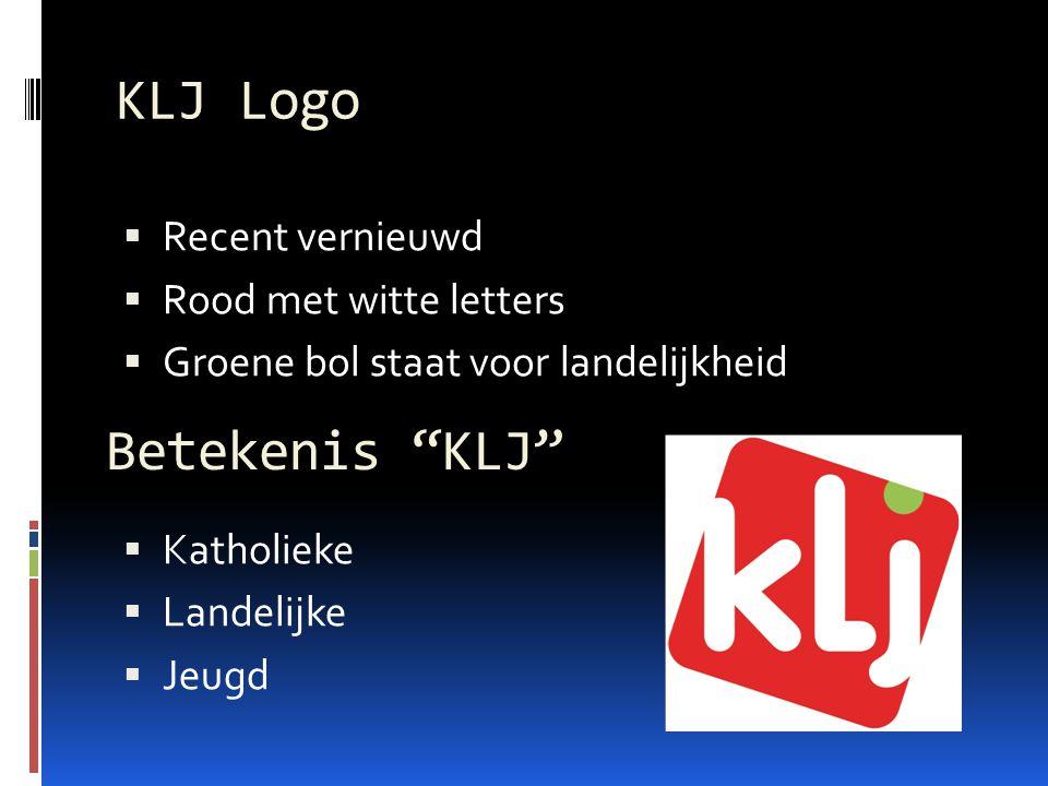 KLJ Logo Betekenis KLJ Recent vernieuwd Rood met witte letters