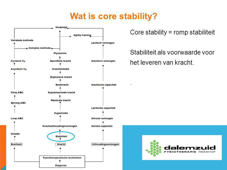 Wat is core stability Core stability = romp stabiliteit Stabiliteit als voorwaarde voor het leveren van kracht. .