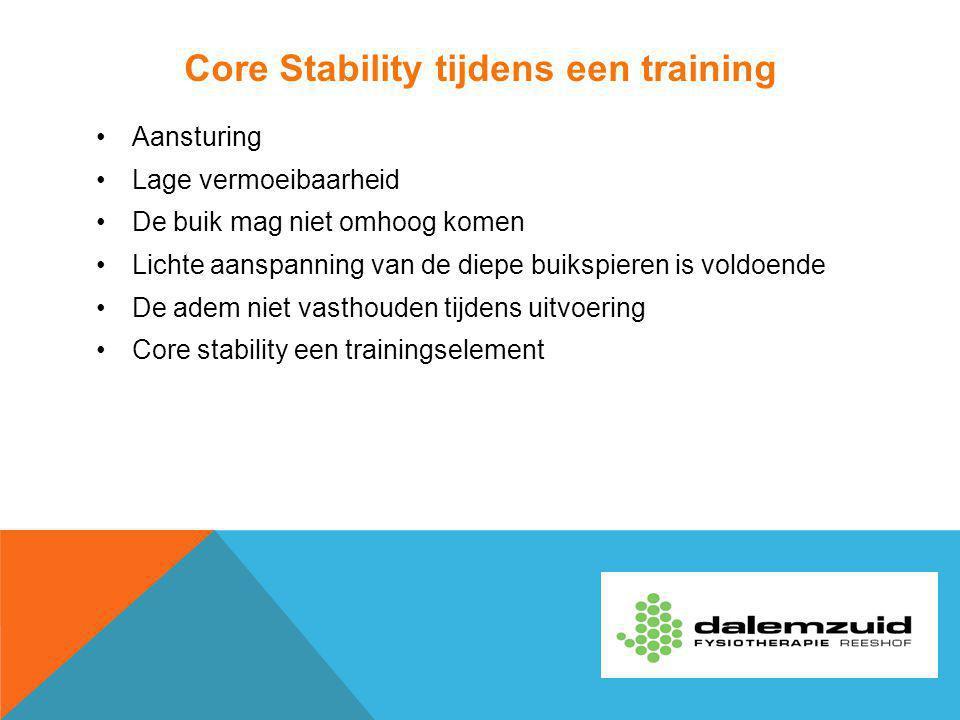 Core Stability tijdens een training
