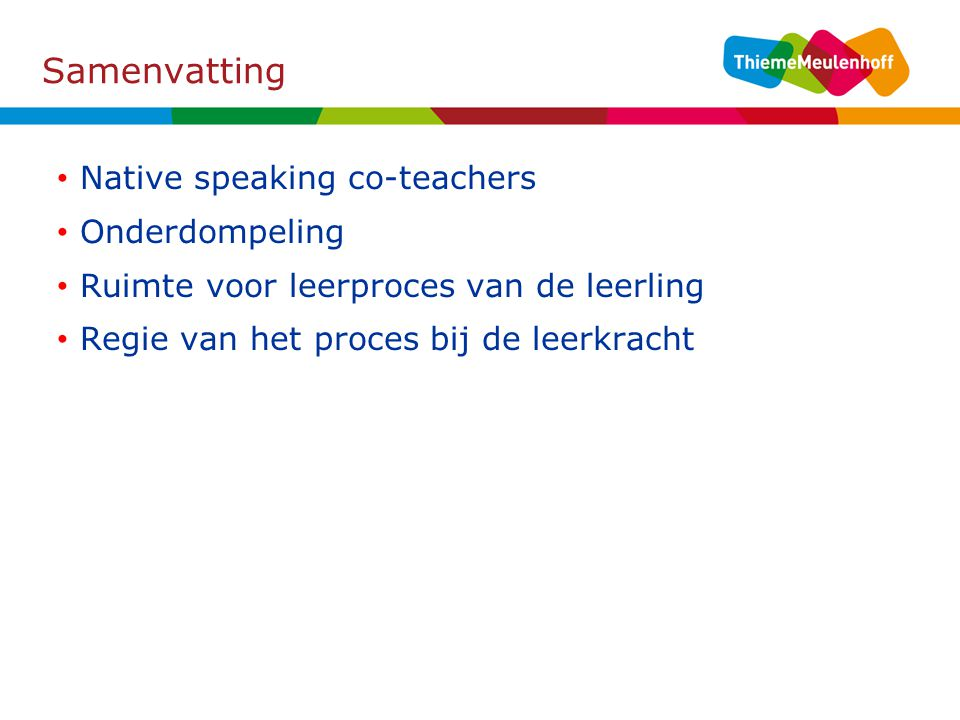 Samenvatting Native speaking co-teachers Onderdompeling