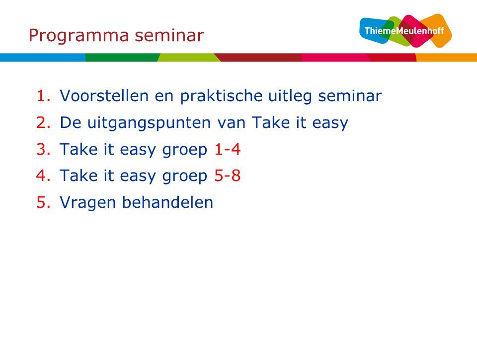 Programma seminar Voorstellen en praktische uitleg seminar
