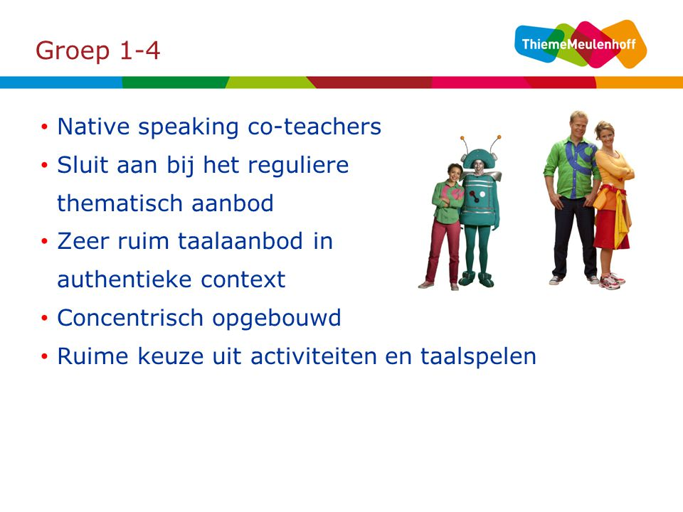 Groep 1-4 Native speaking co-teachers Sluit aan bij het reguliere