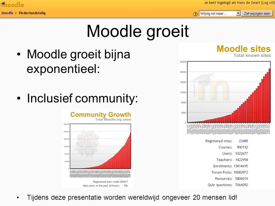 Moodle groeit Moodle groeit bijna exponentieel: Inclusief community:
