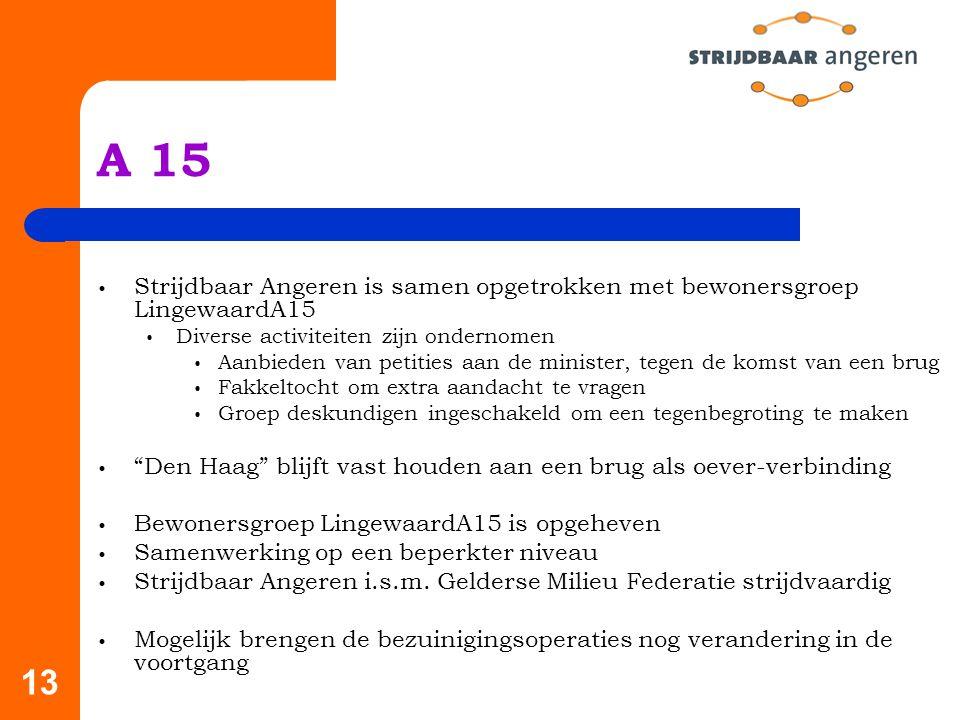 A 15 Strijdbaar Angeren is samen opgetrokken met bewonersgroep LingewaardA15. Diverse activiteiten zijn ondernomen.