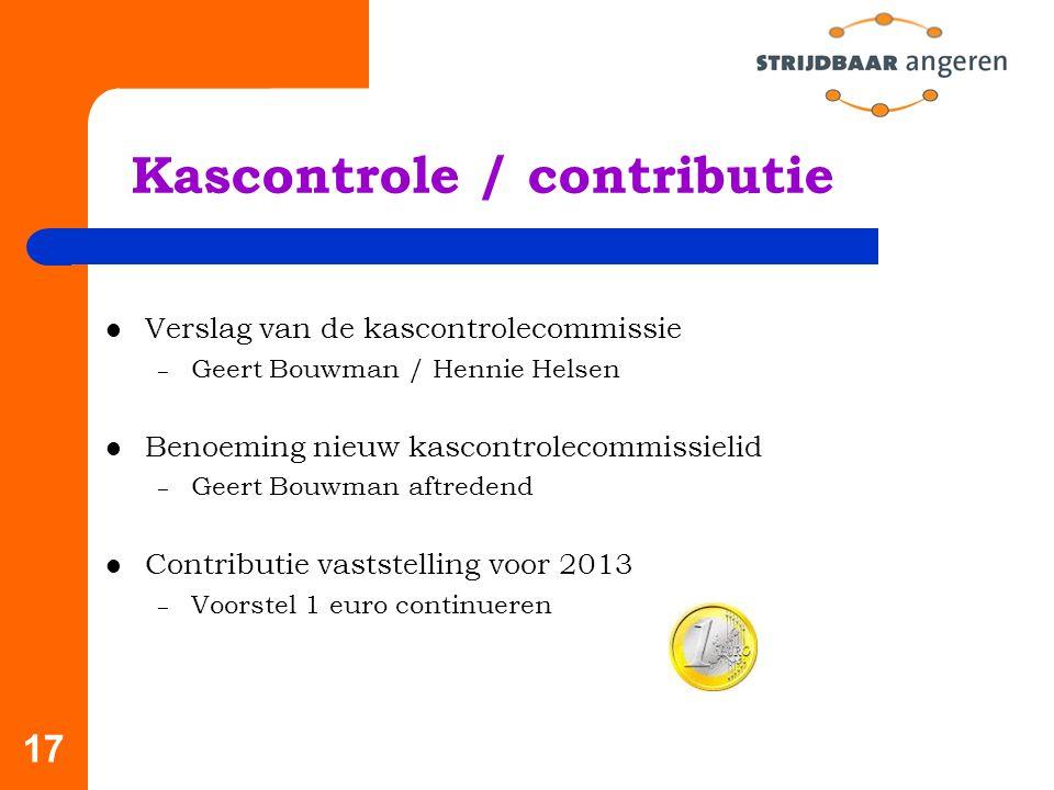 Kascontrole / contributie
