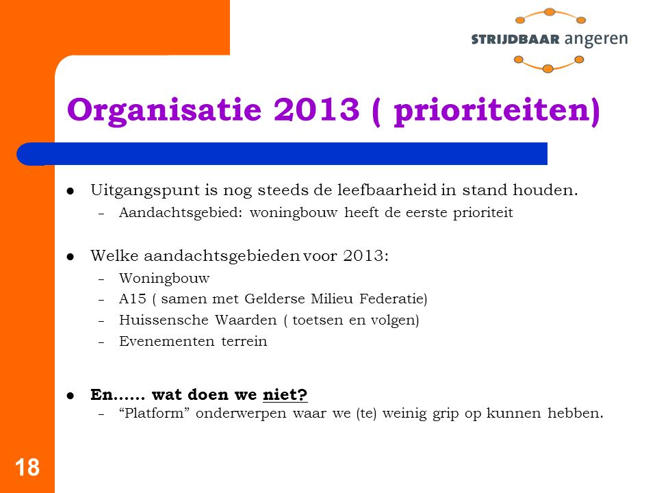Organisatie 2013 ( prioriteiten)