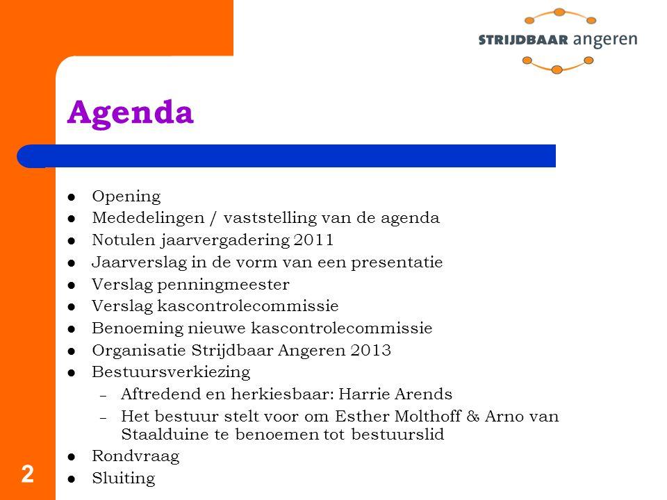 Agenda Opening Mededelingen / vaststelling van de agenda