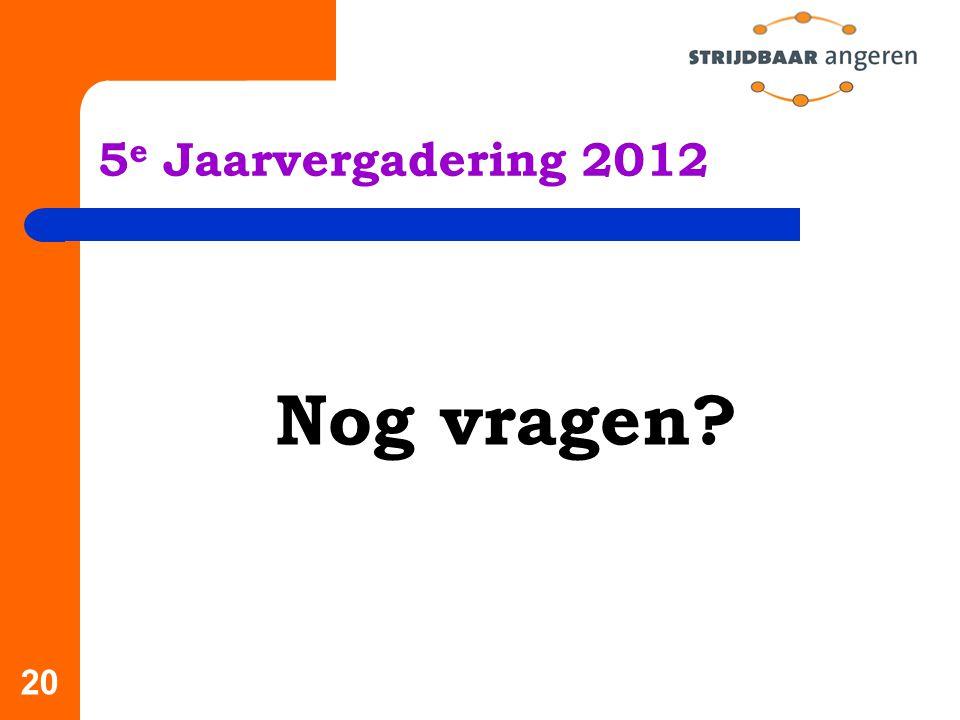 5e Jaarvergadering 2012 Nog vragen